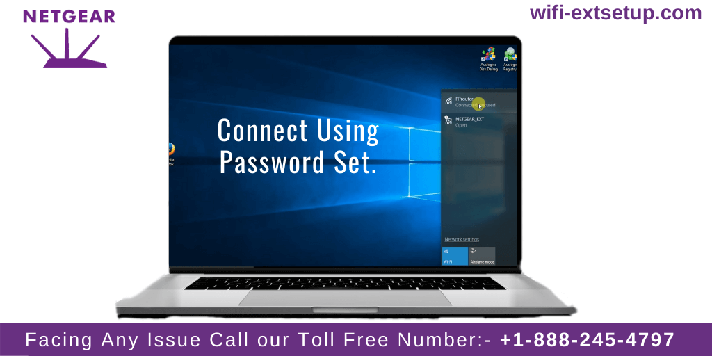 Laptop wifi options are open and says users to connect to the Netgear N300 Extender network using the password set in order to complete the setup.