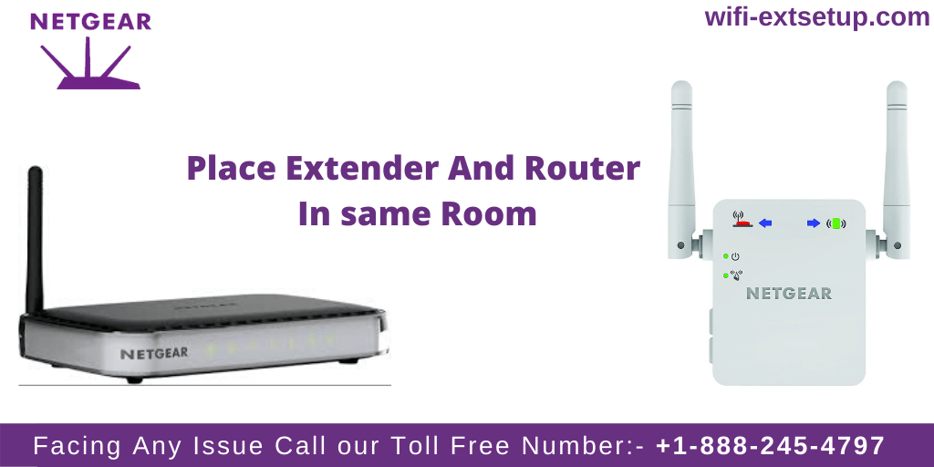 Image Shows the 1st step in order to Netgear N300 extender Setup, image of negear router and extender with heading showing them to place in same room