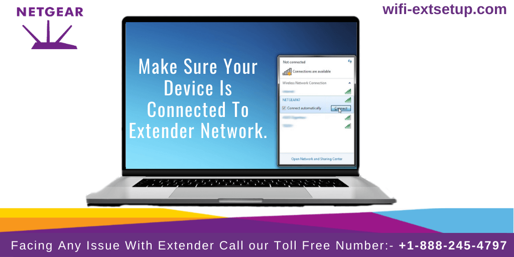 A Laptop showing connect to your extender network.