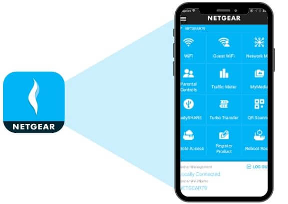 Netgear Genie mobile application opened in mobile.