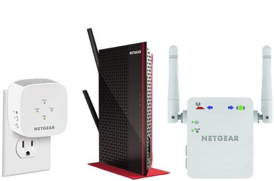 two white color and and one black color netgear wifi range extender